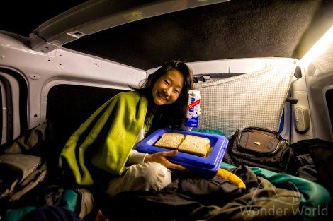 A noite tensa e a nossa janta do dia dentro do carro