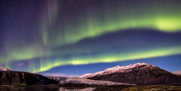Aurora Boreal no Glaciar Fláajökull