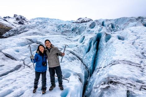 Andando sobre o glaciar Falljokull